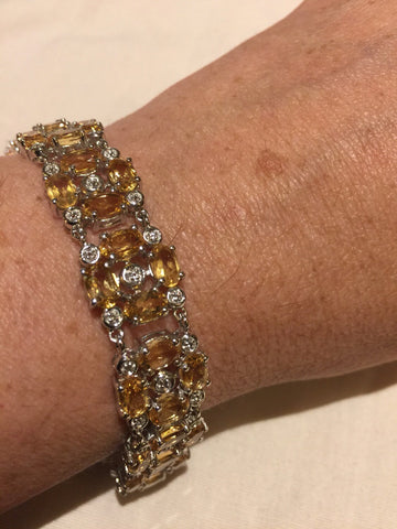 Vintage Gold Citrine Bracelet Deco 925 Sterling Silver Statement Tennis