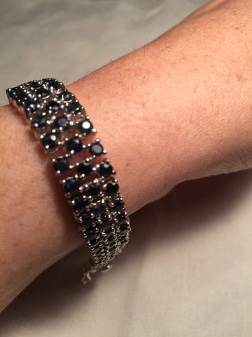 Handmade Genuine Blue Black Sapphires Rhodium Finished 925 Sterling Silver Tennis Bracelet
