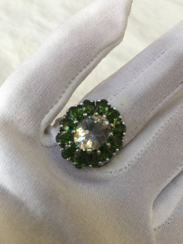 Vintage Green Chrome Diopside Ring Clear Fluorite Sterling Silver Cocktail