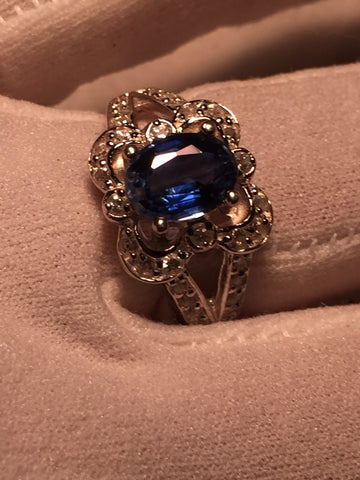 Vintage Handmade deep blue Iolite setting 925 Sterling Silver gothic Ring