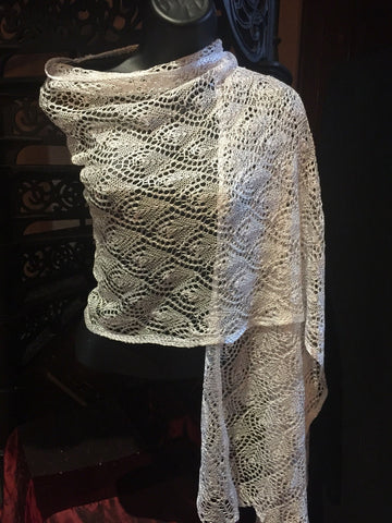 Vitage Styled Sheer white lace chochet  Shawl wrap