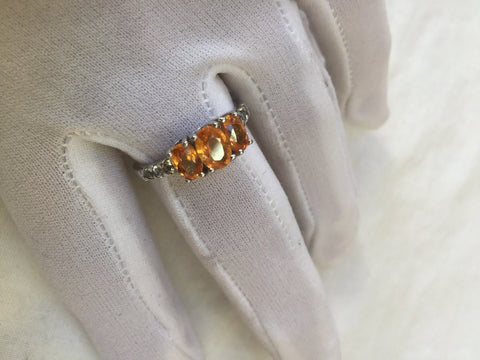 Vintage Orange Fire Opal 925 Sterling Silver gothic Ring