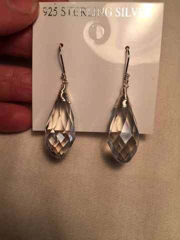 Antique crystal charm gemstone Sterling Silver dangle earrings
