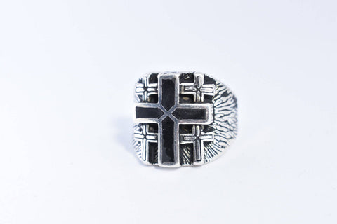 Vintage Gothic Black Onyx Inlay Cross Mens Ring