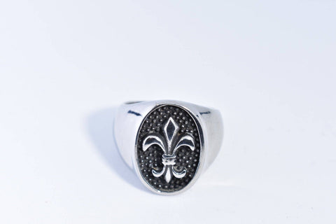 Vintage Gothic Silver Stainless steel Fleur De Lis Mens Ring