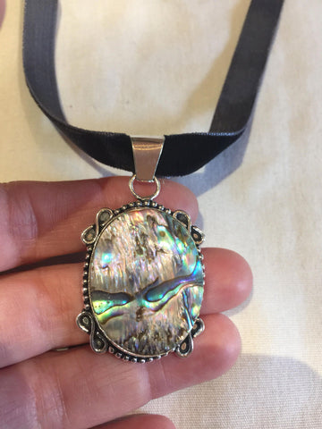 Blue Handmade Gothic Styled Silver Finished Genuine Facetted Antique Abalone  Choker Necklace