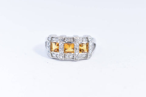 Vintage Golden Citrine Ring Deco 925 Sterling Silver