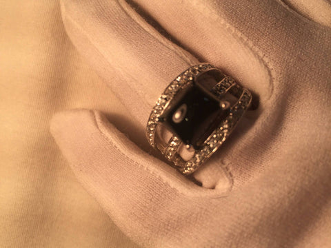 Vintage 1970's Genuine Black Onyx Black 925 Sterling Silver Statement Ring