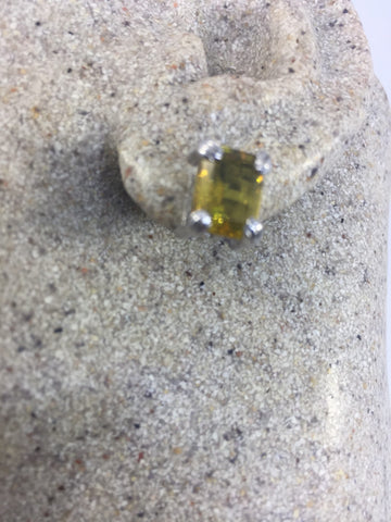 Vintage Genuine Citrine Gemstone 925 Sterling Silver Star Stud earrings