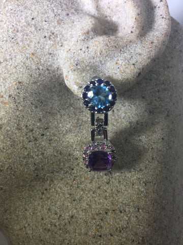 Vintage  Genuine Amythist and blue topaz  925 Sterling Silver Chandler dangle earrings