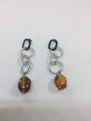 Vintage Handmade sterling 926 sterling silver Baltic amber Gemstone dramatic statement earrings