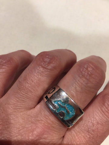 Vintage Native American Style Southwestern Real Turquoise Stone inlay Mens bear Ring