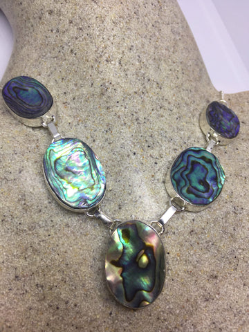 Vintage green Abalone 925 sterling silver necklace choker