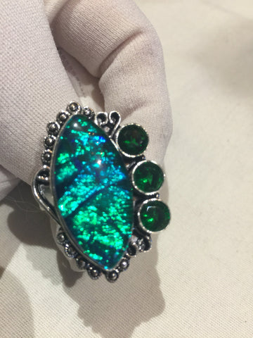 Vintage Blue Green Dichroic Venecian Art Glass ring
