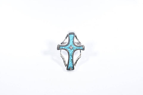Vintage Native American Style Real Turquoise Stone inlay Mens Cross Ring