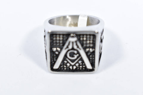 Vintage Gothic Silver Stainless Steel Free Mason G Mens Ring