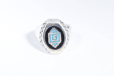 Vintage Native American Style Southwestern Turquoise Stone inlay Mens Ring