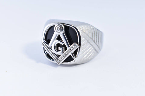 Vintage Gothic Silver Stainless Steel Genuine Black Onyx Free Mason Apprentice Mens Ring