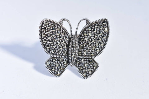 Vintage Marcasite Butterfly 925 Sterling Silver Ring
