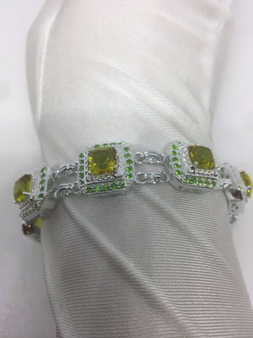 Vintage Handmade Genuine Golden Lemon Quartz Green Chrome Diopside Rhodium Finished 925 Sterling Silver Tennis Bracelet
