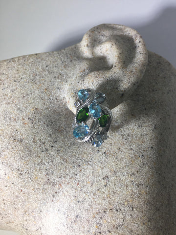 Vintage Handmade 925 Sterling Silver Blue Topaz Chrome Diopside button Earrings