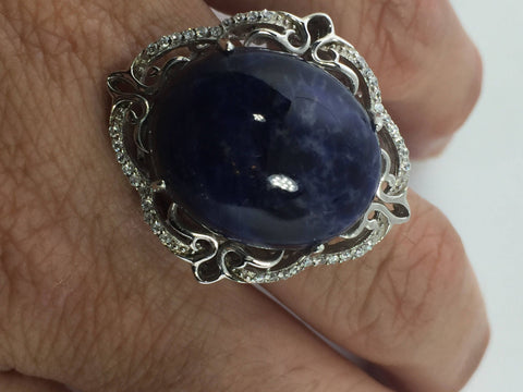 Vintage 1970's Genuine Blue Sodalite 925 Sterling Silver Statement Ring