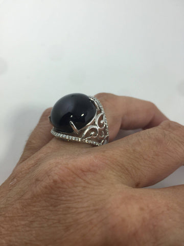 Vintage 1970's Genuine Black Onyx 925 Sterling Silver Statement Ring