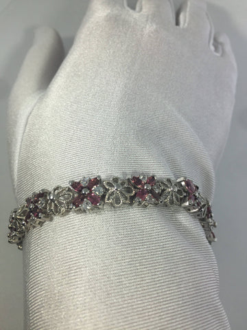 Handmade Genuine Pink Tourmaline white Sapphires Rhodium Finished 925 Sterling Silver Flower Tennis Bracelet