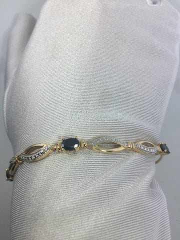 Vintage Blue and White Sapphires golden 925 Sterling SilverTennis