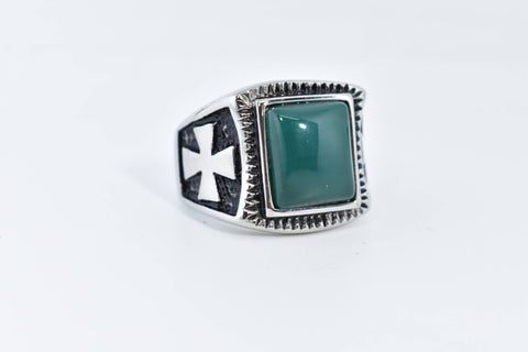 Vintage Gothic Silver Stainless Steel Genuine green Onyx Mens Ring