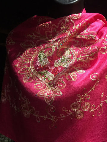 Vitage Styled mixed Colored Flower Embroidered Pashmina Shawl