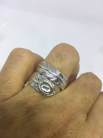 Vintage Antique southwestern Abalone 925 sterling silver wrap feather ring