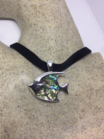 Blue Handmade Gothic Styled Silver Finished Genuine Abalone Angel Fish Choker Necklace