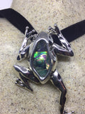 Blue Handmade Gothic Styled Silver Finished Genuine Abalone Frog Choker Necklace