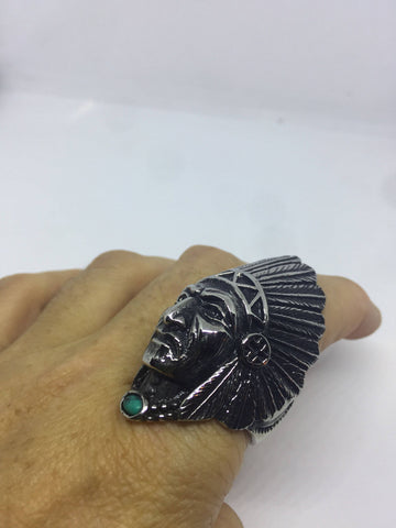 Vintage 2 inch Chief Genuine Turquoise Mens Ring