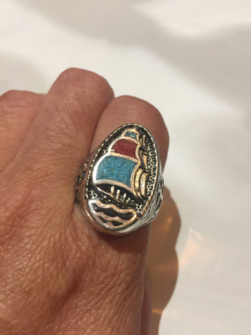 Vintage Southwestern Genuine Turquoise Coral inlay ship Mens Ring