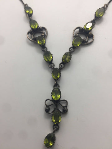 "Bohemian ""Y"" necklace Droplet Green Prridot and Sterling Silver Necklace"
