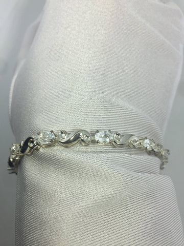 Vintage Handmade Genuine white Sapphires Rhodium Finished 925 Sterling Silver Tennis Bracelet