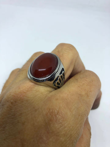 Vintage Gothic Silver Genuine Red Carnelian Crown Mens Ring