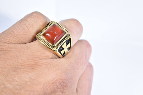 Vintage Gothic Gold Finished Genuine Red Carnelian Cross Mens Ring