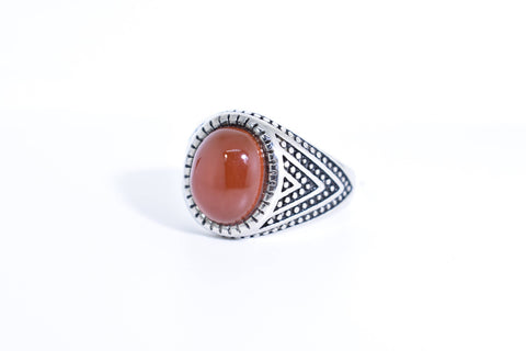 Vintage Gothic Genuine Red Carnelian Silver Stainless Steel Mens Ring