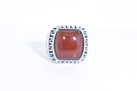 Vintage Gothic Silver Stainless Steel Genuine Red Carnelian Mens Ring