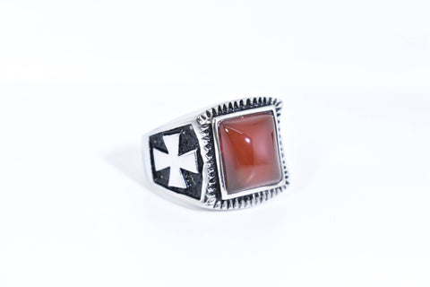Vintage Gothic Silver Genuine Red Carnelian Cross Mens Ring