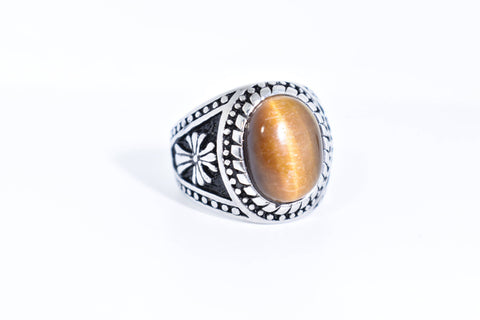 Vintage Gothic Cross Stainless Steel Genuine Tiger's Eye Ring