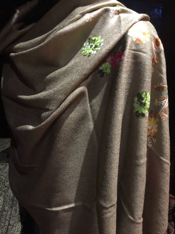 Vintage Styled Brown Pashmina Flower Embroidered Wrap Shawl
