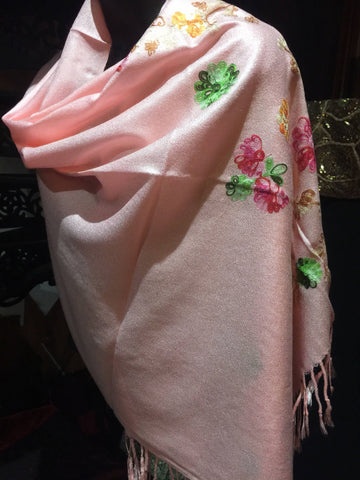 Vintage Styled mixed Colored Flower Embroidered Pashmina Shawl