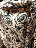 Vintage Styled Black and White Rose pashmina wrap Shawl