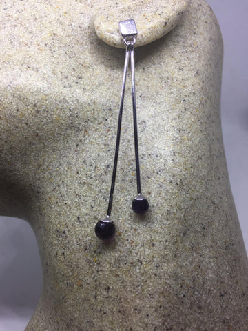 Vintage Genuine Blue iolite Gemstone 925 Sterling Silver Deco Dangle earrings