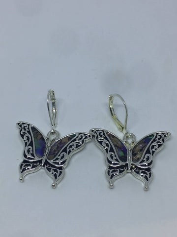 Vintage Handmade Silver Rainbow Abalone Butterfly Earrings