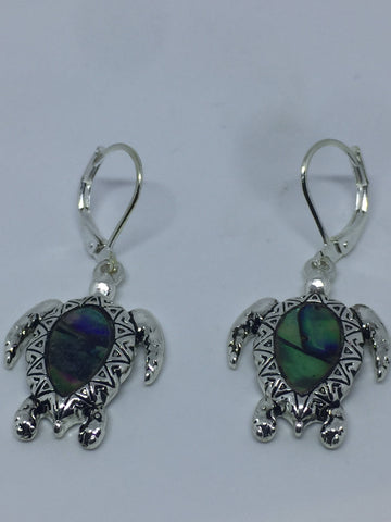 Vintage Handmade Silver Rainbow Abalone sea turtle Earrings